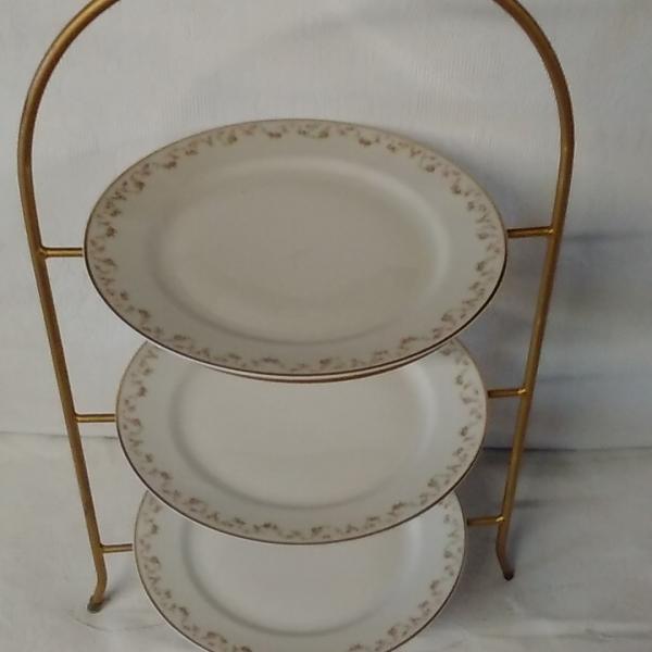 3 Tiered Gold Serving platter