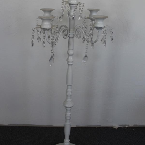 30 White 5 Candelabra w: Crystals8.75